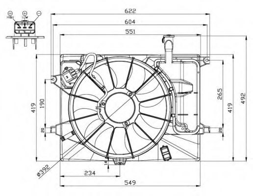 Вентилятор охлаждения двигателя Hyundai/Kia 253803X000