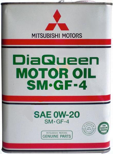 Масло моторное синтетическое DiaQueen SM/CF-4 0W-20, 4л Mitsubishi 3013610