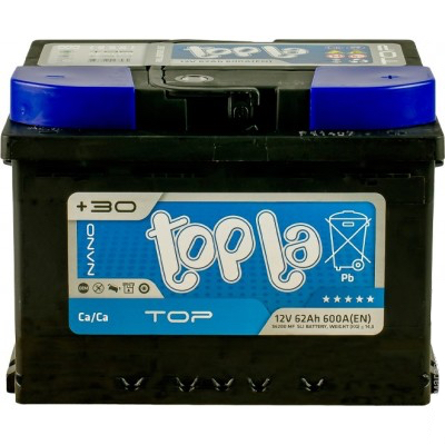 Аккумулятор 62 Ah/12V TOP Euro (0) Topla 118662