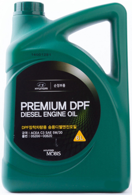 Масло моторное синтетическое Premium DPF Diesel 5W-30, 6л Hyundai/Kia 520000620