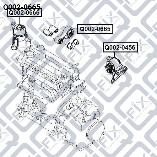 Подушка двигателя задняя АКПП Q-FIX Q0020665