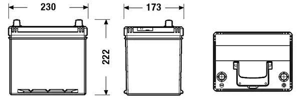 Аккумулятор ПРАВ [+] 12V 60AH 390A 230*172*220 EXCELL EXIDE EB604 фото 2